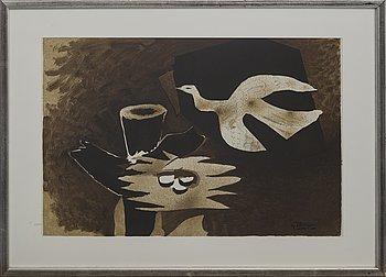 GEORGES BRAQUE,  efter, färglitografi, ur Derrière le Miroir nr 85-86, 1956, signerad i trycket.