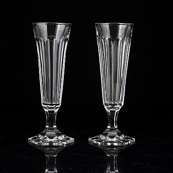 Six champagne glasses, first half of the 20th century.