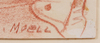 Sven moell, rödkrita, 2 st, sign.