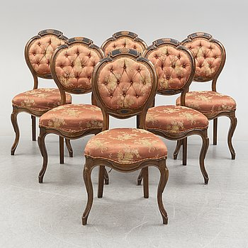 Six late 19th century chairs.