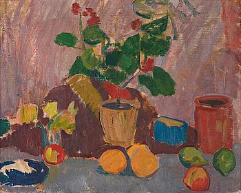 407. Karl Isakson, Still life with flower and fruits.