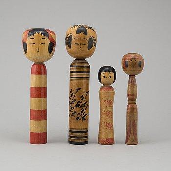 DOCKOR, 4 st, Japan, så kallade Kokeshi, 1900-talets mitt.