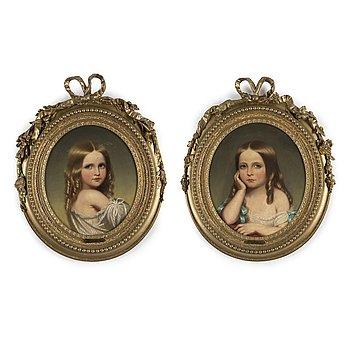 FANNY GEEFS, ett par, olja på duk, signerade och daterade 1849.