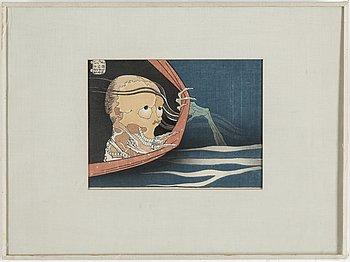 KATSUSHIKA HOKUSAI (1760–1849), efter, färg träsnitt. Japan, omkring 1900.