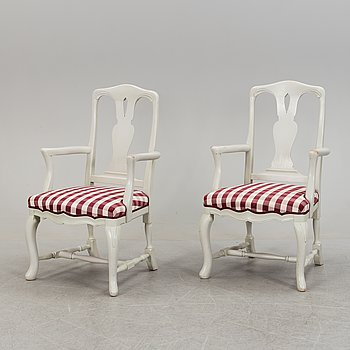 A pair of late Baroque style armchairs, second half of the 20th century.