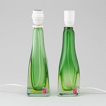 BORDSLAMPOR, ett par, glas, Murano, Italien, 1950-tal.