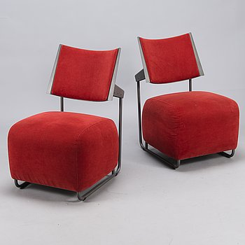 HARRI KORHONEN, a pair of 'Oscar' easychairs for  Inno Interior. Finland. Designed 1989.