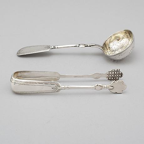 Strösked och sockertång, silver, icke identifierad mästare, s:t petersburg 1893.