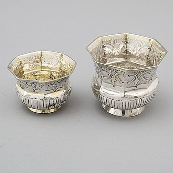 Two Russian 18th century parcel-gilt silver charkas, unidentified makers marks, Moscow.