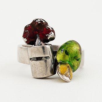 ERNST BILLGREN, ring, sterling silver och emalj.