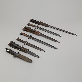 Seven Swedish bayonets with scabbards.
