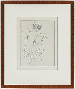 """CARL LARSSON, etsning, postumt sign """"C.L genom K.L. [Karin Larsson]"""" med blyerts. Utförd 1919. Etat 1.""""Modell på stol""""."""