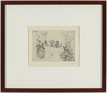 """CARL LARSSON, etching, signed C.L. in pencil. Executed 1909. State 2. """"Lisbeth play acting""""."""