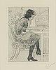 """Carl larsson, etsning, signerad c.l. med blyerts. utförd 1916. etat 2. """"lektyr"""""""