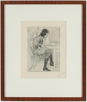 """CARL LARSSON, etsning, signerad C.L. med blyerts. Utförd 1916. Etat 2. """"Lektyr""""."""