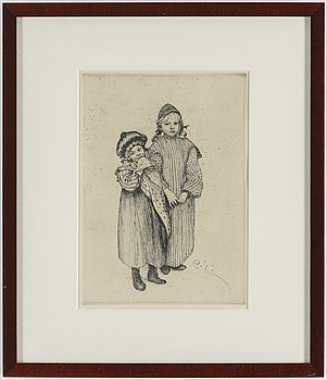 """CARL LARSSON, etching, signed C.L. in the plate. Executed 1912. """"The children of Hellberg the Carpenter""""."""