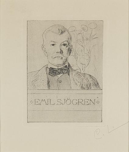"""Carl larsson, etsning, signerad c.l. med blyerts. utförd 1911. etat 1. """"emil sjögren"""""""