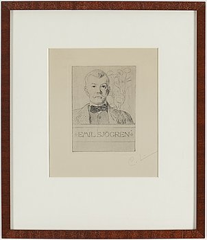 """CARL LARSSON, etsning, signerad C.L. med blyerts. Utförd 1911. Etat 1. """"Emil Sjögren""""."""