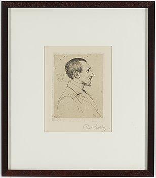 """CARL LARSSON, etsning, signerad Carl Larsson med blyerts. Utförd 1897. Etat 1. Sällsynt. """"Mr D.O. Bell""""."""