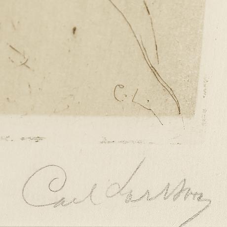 """Carl larsson, etsning, signerad carl larsson med blyerts. utförd 1897. etat 1. sällsynt. """"mr d.o. bell"""""""