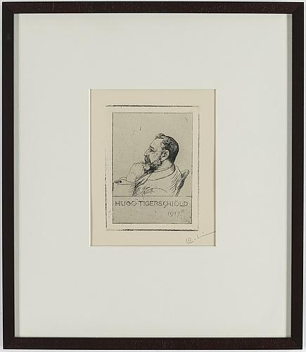 """Carl larsson, etsning, signerad c.l. med blyerts. utförd 1917. etat 1. mycket sällsynt. """"hugo tigerschiöld"""""""