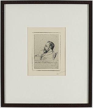 """CARL LARSSON, etsning, signerad C.L. med blyerts. Utförd 1917. Etat 1. Mycket sällsynt. """"Hugo Tigerschiöld""""."""