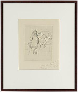"""CARL LARSSON, etsning, signerad C.L. i blyerts med dedikation. Utförd 1909. Etat 1. Mycket sällsynt. """"Två systrar""""."""