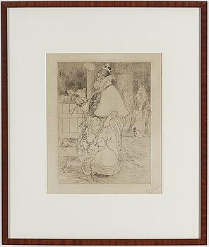 """CARL LARSSON, etsning, signerad C.L. med blyerts. Utförd 1909. Etat 2. Ett fåtal ex handsignerade. """"Lisbeth och kalven""""."""