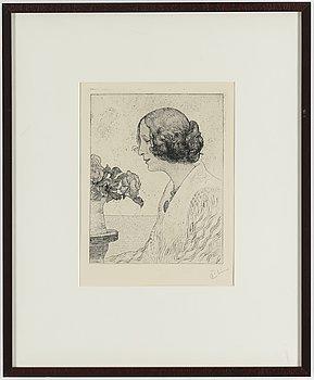 """CARL LARSSON, etsning, signerad C.L. med blyerts. Utförd 1911. Etat 2. Sällsynt. """"Anna Stina (Fru Alkman, f. Rydell)""""."""