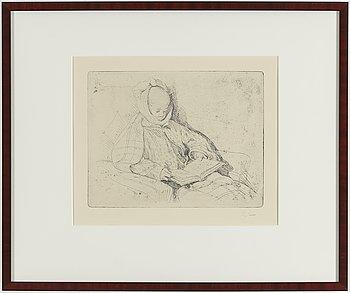 """CARL LARSSON, etsning, signerad C.L. med blyerts. Utförd 1912. Etat 1. """"Påssjukan (Esbjörn)""""."""