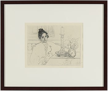 """CARL LARSSON, etching, signed C.L. in pencil. Executed 1913. State 2. 165 signed copies. """"An Artist's Wife""""."""
