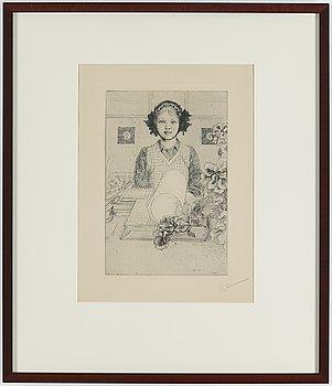 """CARL LARSSON, etsning, signerad C.L. med blyerts. Utförd 1917. Etat 2. Mycket sällsynt. """"Ung flicka""""."""