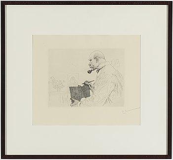 """CARL LARSSON, etsning, signerad C.L. med blyerts. Utförd 1912. Etat 2. 121 signerade exemplar. """"Självporträtt""""."""