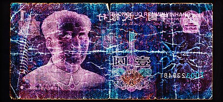 """David lachapelle, """"negative currency, 1 yuan used as negative"""", 2010."""