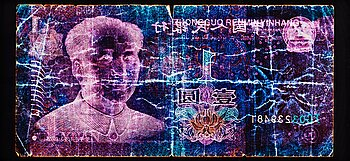 "186. David LaChapelle, ""Negative Currency, 1 Yuan used as Negative"", 2010."