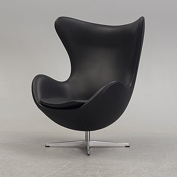 ARNE JACOBSEN, a black leather 'Egg' chair, Denmark, 2007.