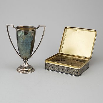 Swedish olympic champion swimmer Arne Borgs victory trophy and medals.