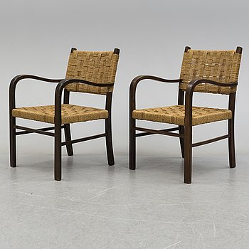 AXEL LARSSON, karmstolar, ett par, funkis, Bodafors, 1930-tal.