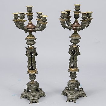 A PAIR OF CANDELABRAS, white metal and bronze, late 19th century.