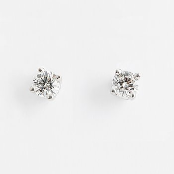 DIAMOND STUDS, 18K white gold with 2 diamonds approx 0.70 cts.