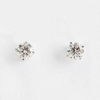 DIAMOND STUDS, 14K white gold with 2 diamonds approx. 1.40 cts.