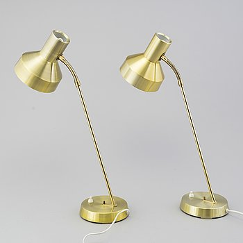 TABLE LAMPS, a pair, EWÅ, B 71. Värnamo, 1960s / 70s.