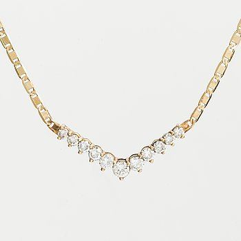 NECKLACE, 14K gold with 11 diamonds approx. 2.25 cts.