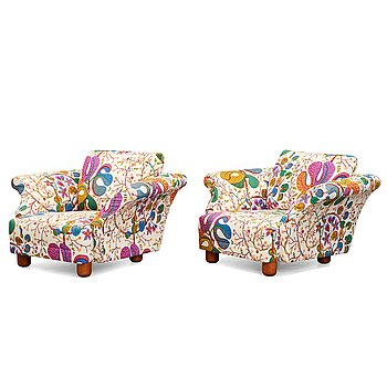 "331. Josef Frank, a pair of ""Liljevalchs"" easy chairs, Firma Svenskt Tenn, Sweden 2010."
