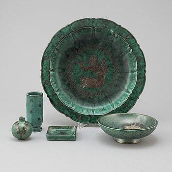 "WILHELM KÅGE, ceramics, ""Argenta"", five parts."
