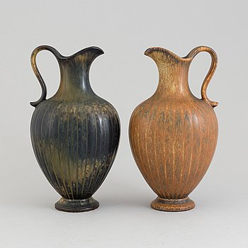 Two stoneware pitchers by Gunnar Nylund, Rörstrand, after 1938.