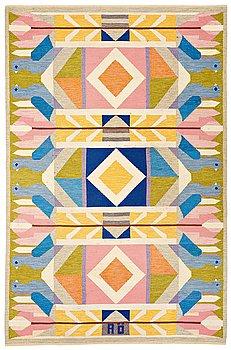 "231. Agda Österberg, A CARPET, ""Matta nr 591"", flat weave, ca 328,5 x 212 cm, signed AÖ (Agda Österberg), woven in 1973."