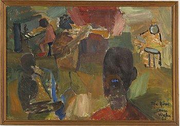 """HANS VIKSTEN, Oil on panel, signed and dated -61. """"Till Göran""""."""