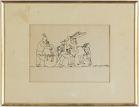 Hans viksten, ink drawing, signed and dated -70.