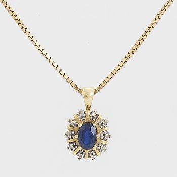 HÄNGE, med safir och diamanter, guldkedja.